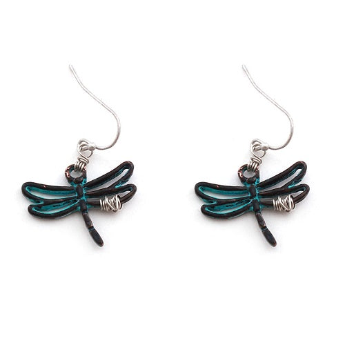 Dragonfly earring - patina