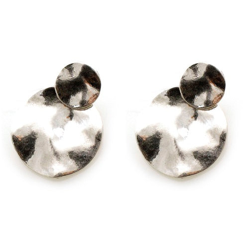 Round hammered earring - silver