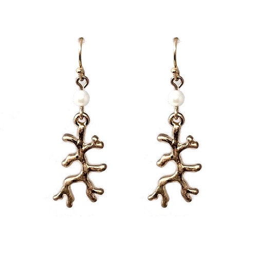 Coral earring - gold