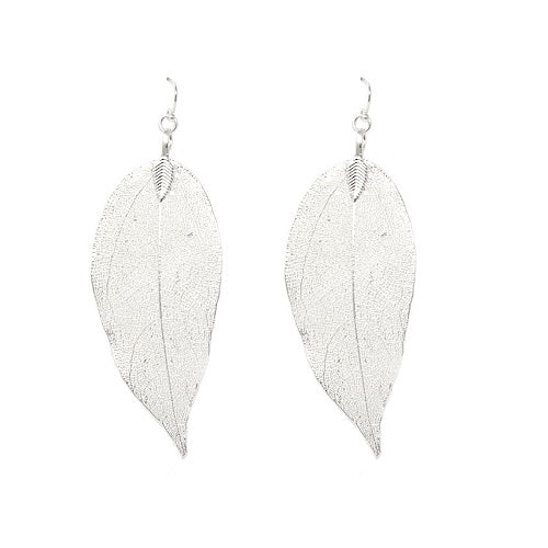 Real leaf earring - silver