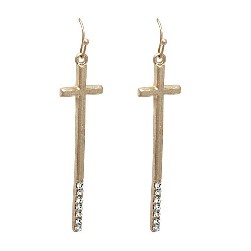 Cross earring - worn gold