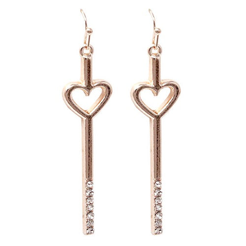 Heart w/ crystal studs earring - rose gold