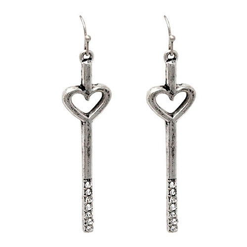 Heart w/ crystal studs earring - burnish silver