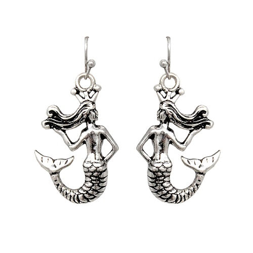Mermaid earring - burnish silver