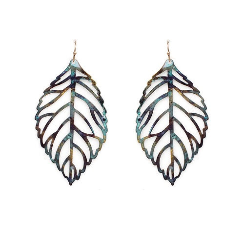 Leaf earring - patina