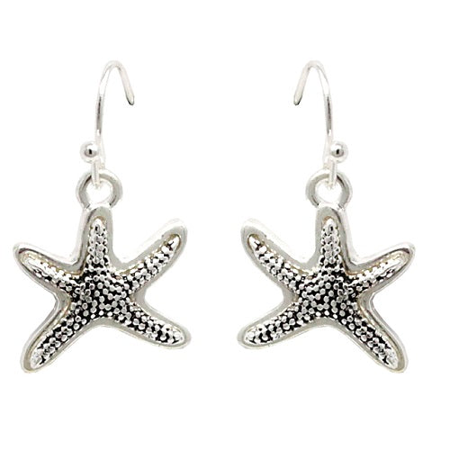 Starfish earring - antique silver