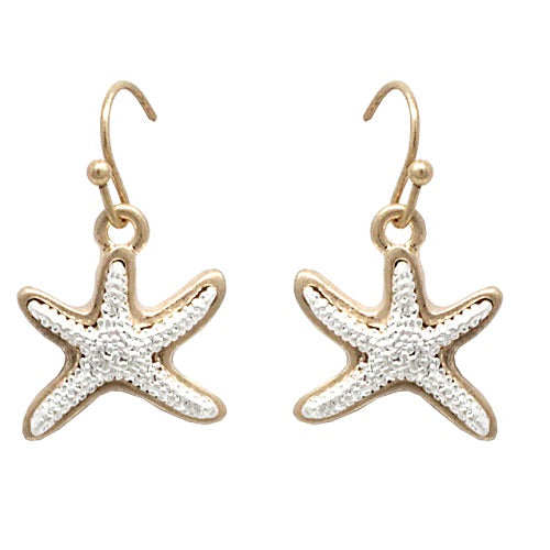 Starfish earring - worn gold & silver
