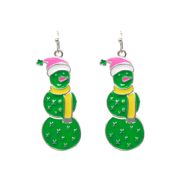 [12PC] Christmas Snowman Cactus earring
