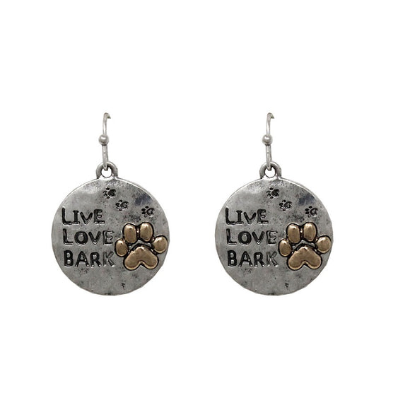 Paw Live Love Bark earring