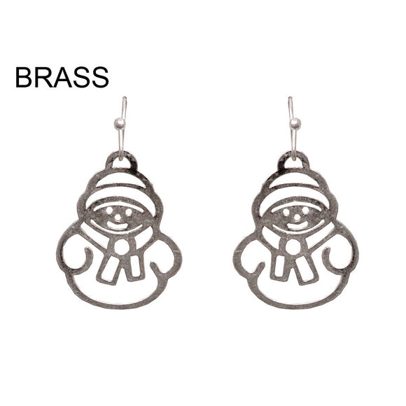 [12PC] Snowman earring - worn silver