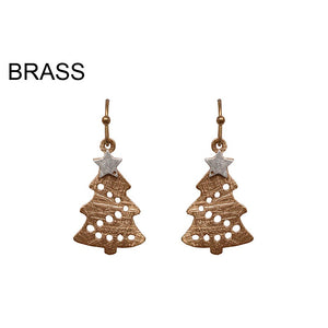 [12PC] Christmas Tree earring - worn gold