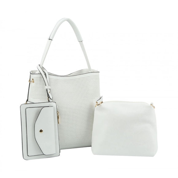 Laser cut tote set - white