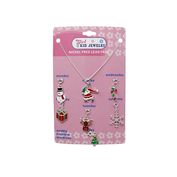 [12PC] Kid's Christmas 7 charm necklace