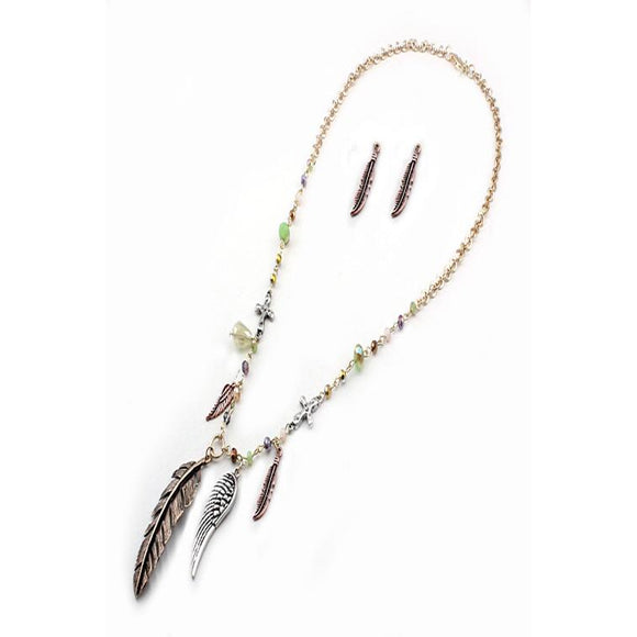 MULTI FEATHER NECKLACE SET