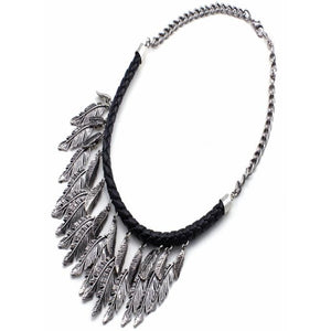 MULTI FEATHER NECKLACE SET - SILVER