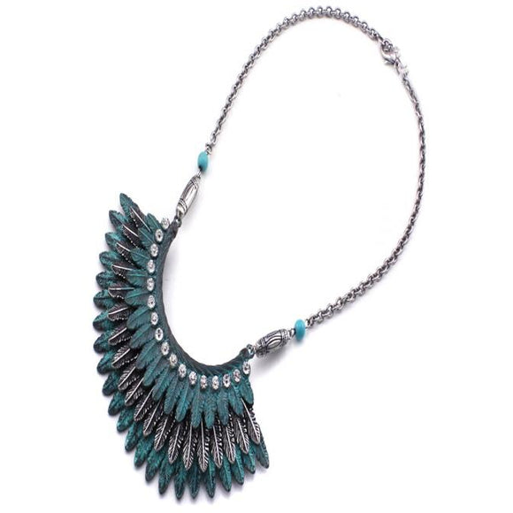 TRIBAL FEATHER NECKLACE SET