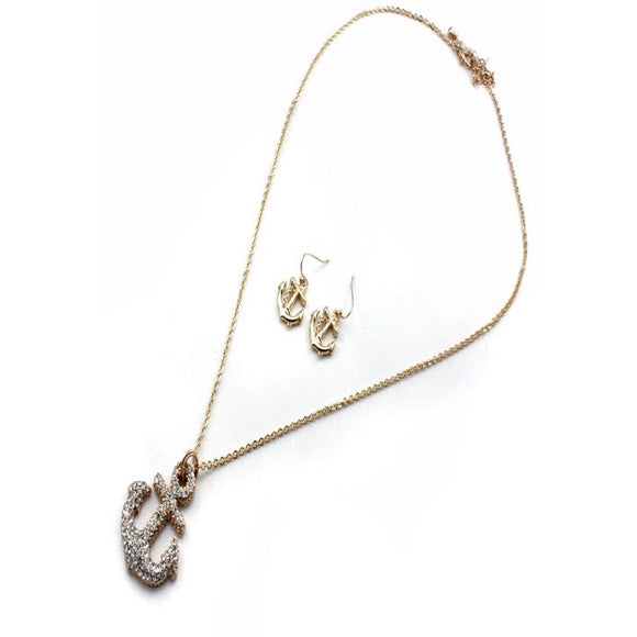 GOLD ANCHOR NECKLACE SET