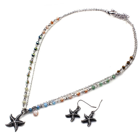 Starfish w/ seed bead necklace set