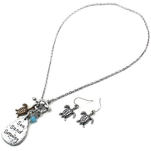 Sea turtle with charm necklace set
