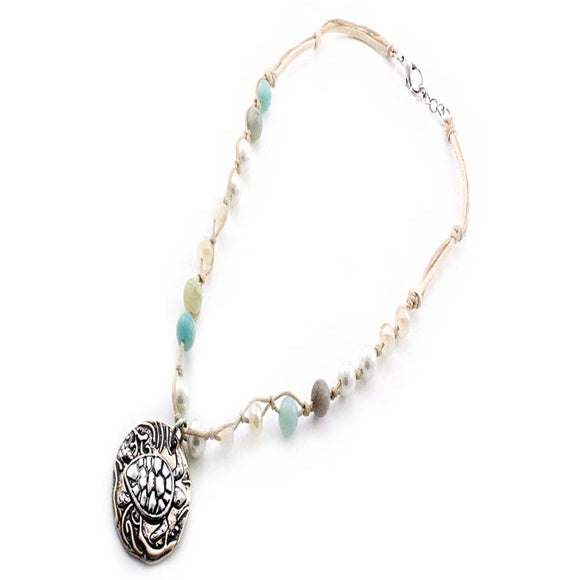 SEMI PRECIOUS TURTLE NECKLACE SET