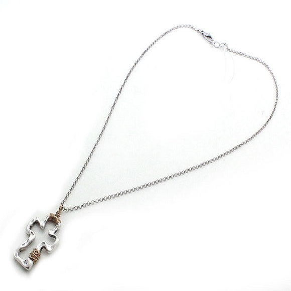Wired cross necklace set - silver