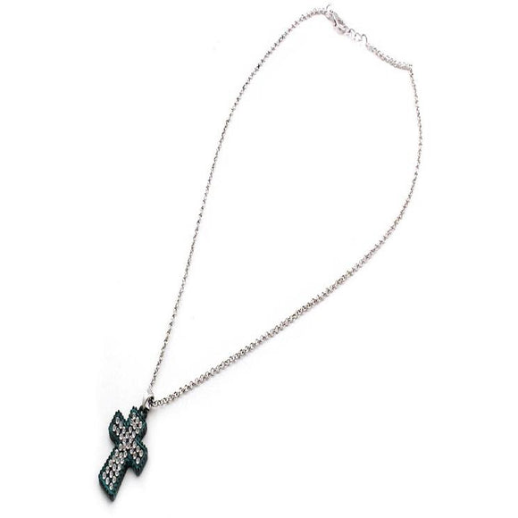 PAVE CROSS NECKLACE SET - PATINA