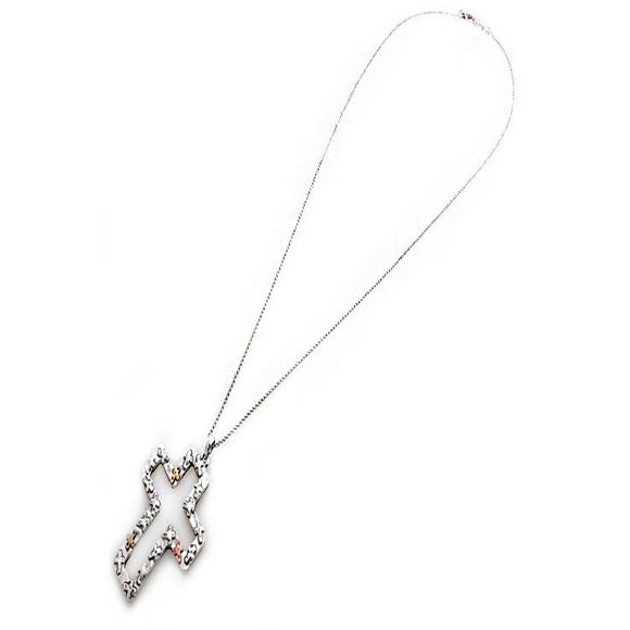 CROSS LONG NECKLACE SET - SILVER
