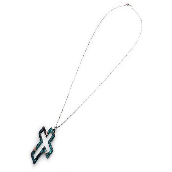 CROSS LONG NECKLACE SET - PATINA