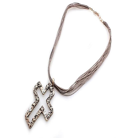 CROSS W/ CORD NECKLACE SET - GOLD