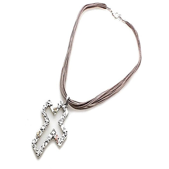 CROSS W/ CORD NECKLACE SET - SILVER