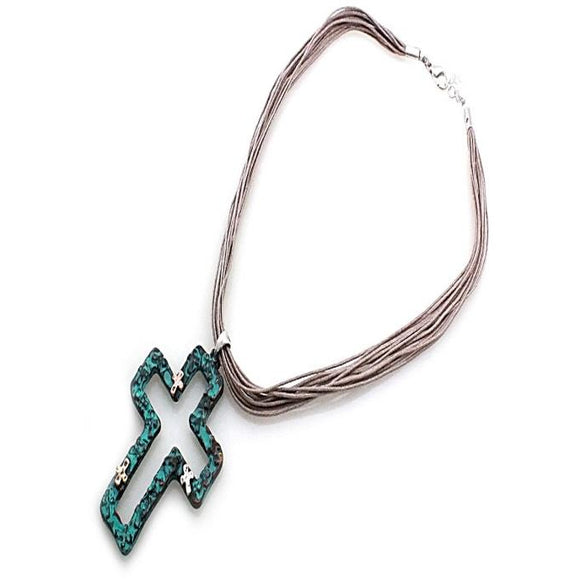 CROSS W/ CORD NECKLACE SET - PATINA