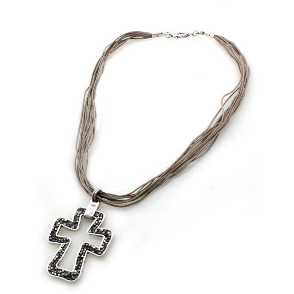 PAVE CROSS NECKLACE SET - SILVER
