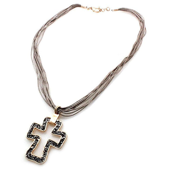 PAVE CROSS NECKLACE SET - GOLD