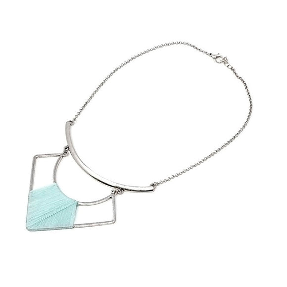 Geometric pendant w/ thread necklace - turquoise