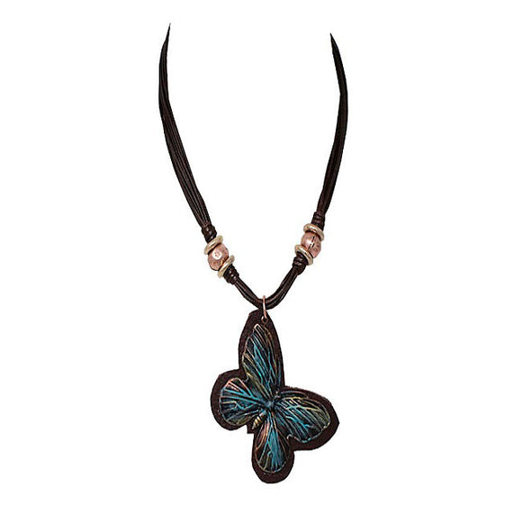 Butterfly necklace set - copper patina