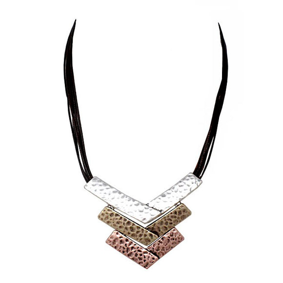 Tribal casting necklace set - tri tone