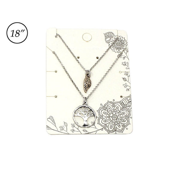 Multi layer tree of life necklace set - silver