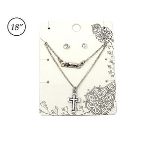 Multi layer cross & blessed necklace set