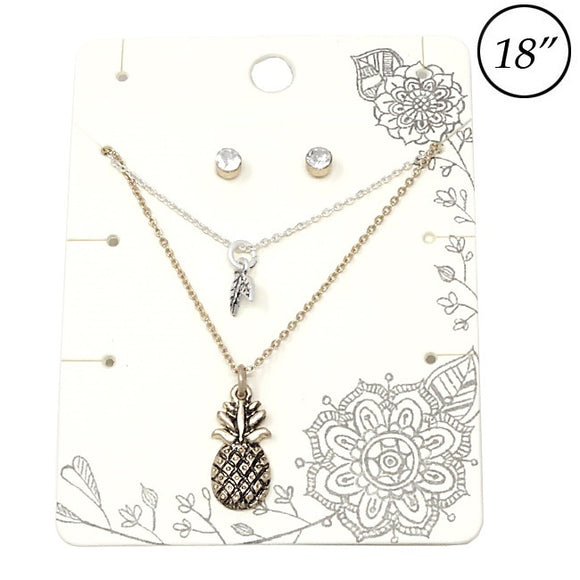 Multi layer Pineapple necklace set - AWG