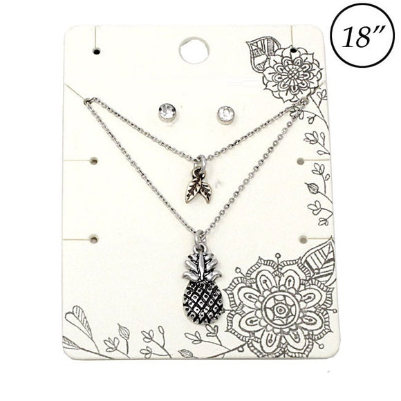 Multi layer Pineapple necklace set - silver