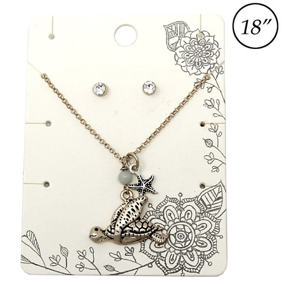 Turtle & starfish necklace set - antique gold
