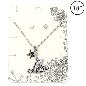 Turtle & starfish necklace set - burnish silver