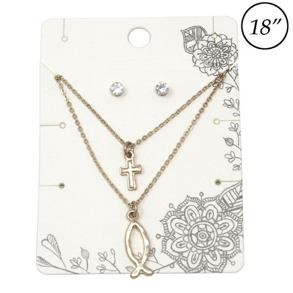 Multi layer Cross & Ichthys necklace set - gold