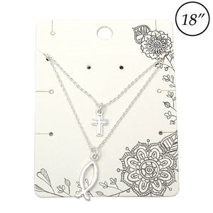 Multi layer Cross & Ichthys necklace set - silver