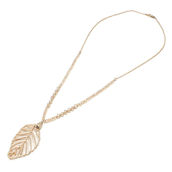 Leaf & glass bead necklace set - gold