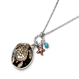 Turtle & starfish necklace set