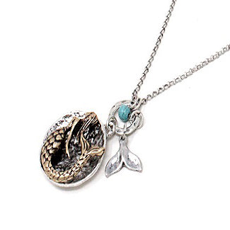 Mermaid & whale tale necklace set