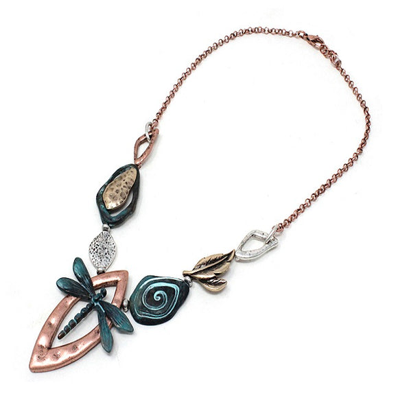 Artistic Dragonfly necklace set - patina multi