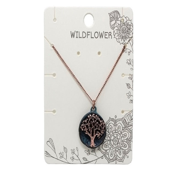 Tree of life necklace - patina & copper