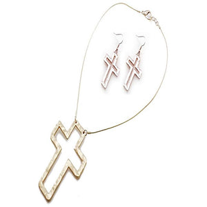 CROSS NECKLACE SET - WORN GOLD - Pink Vanilla